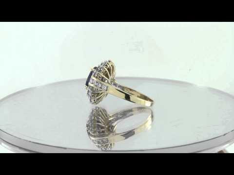 Estate 14K Yellow Gold 2.00CT Blue Sapphire & Diamond Solitaire Ring .