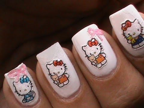 hello kitty nail art designs for kids apply diy 3d