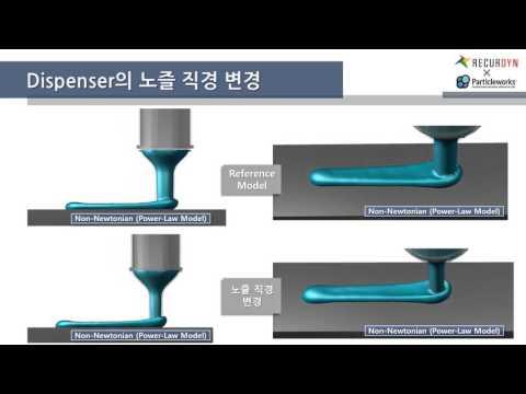 [Particleworks X RecurDyn] Dispenser에서 Non-Newtonian Fluid (Power-Law model) 토출 거동 연성 해석