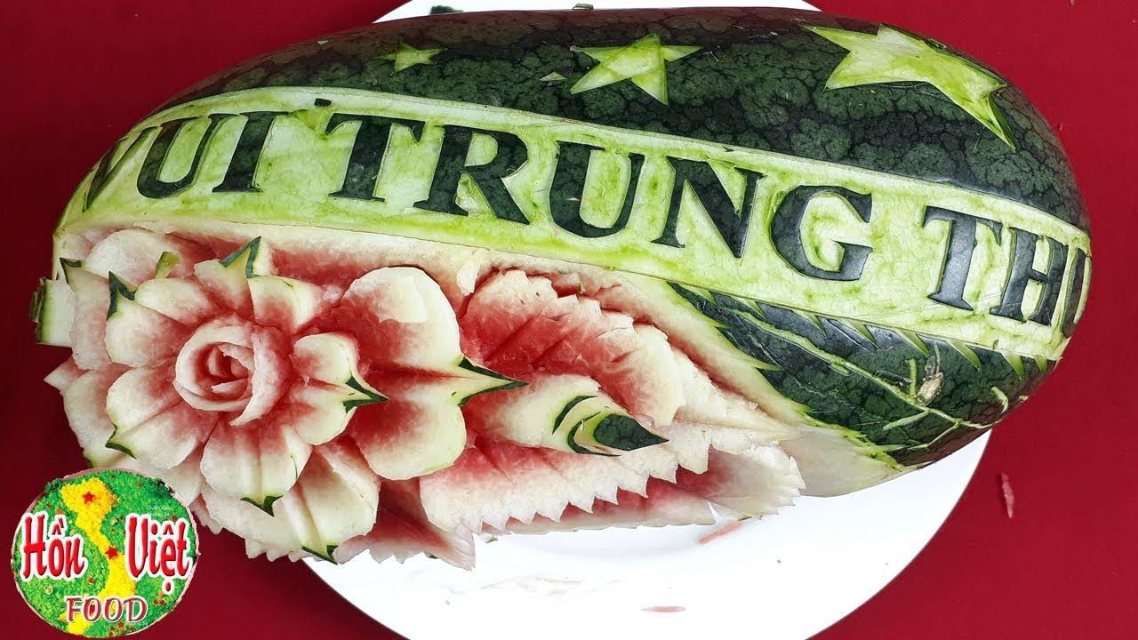 Khắc Chữ Vui Trung Thu Đơn Giản Trên Dưa Hấu Để Trung Thu Nhiều Ý Nghĩa | Hồn Việt Food