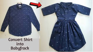 DIY Convert Old Man's Shirt into Cute Baby frock/Recycling a shirt/Transformation idea