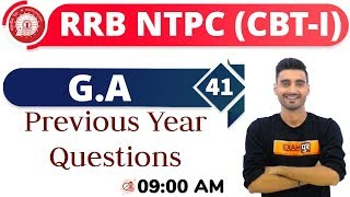 Class-41 ||#RRB NTPC || G.A. || By Vivek Sir || Previous Year Questions