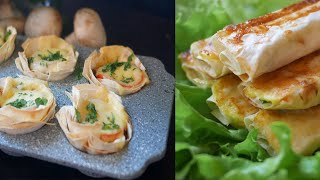 2 рецепта из лаваша. Корзиночки с лаваша/Трубочки из лаваша  с яйцом и сыром