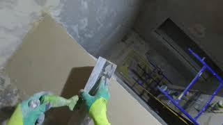 Шпаклевка стен, Первый слой. Стартовая шпаклевка по бетону. В 3 этапа