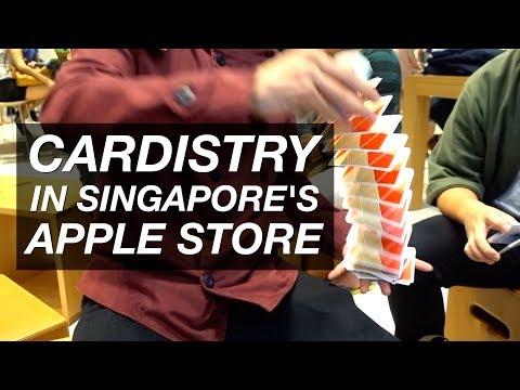 Performing Cardistry in Apple Singapore's Flagship Store