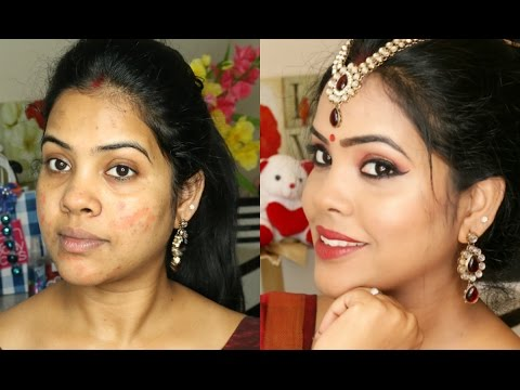 Traditional Indian Festive Saree Makeup Look/Durga Puja/Navratri//Indian Brown Skin