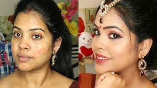 Traditional Indian Festive Saree Makeup Look/Durga Puja/Navratri//Indian Brown Skin