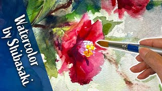 [Eng sub] Bouquet of camellia Flowers / Watercolor painting / Calming art