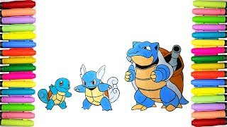 Pokemon coloring pages - Squirtle, Wartortle and Blastoise