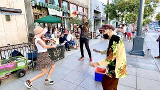 95-year-old woman joins my street performance   Radioactive - Imagine Dragons - Violin Cover
