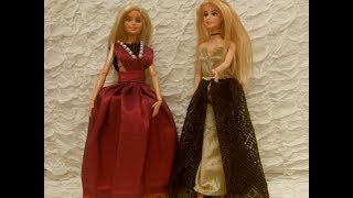 Barbie DIY clothes / How to make 2 different prom Dresses