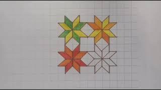 طريقة رسم زخرفة هندسية إسلامية بطريقة بسيطة وسهلة الرسم بطريقة المربعات لطلاب المرحلة الاعدادية Youtube