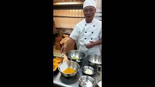 芒果戚風蛋糕捲,整盤的操作方式