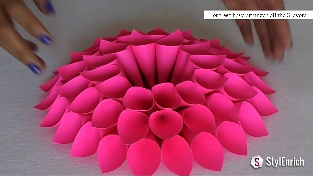 Diy room decor with amazing dahlia flower diy crafts for Art and craft for school decoration