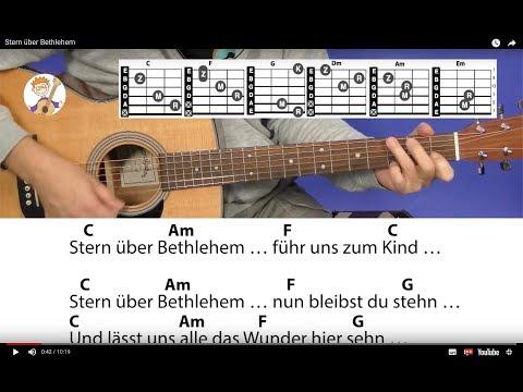 Stern über Bethlehem - Weihnachtslied mit Akkorden & Text für Gitarre
