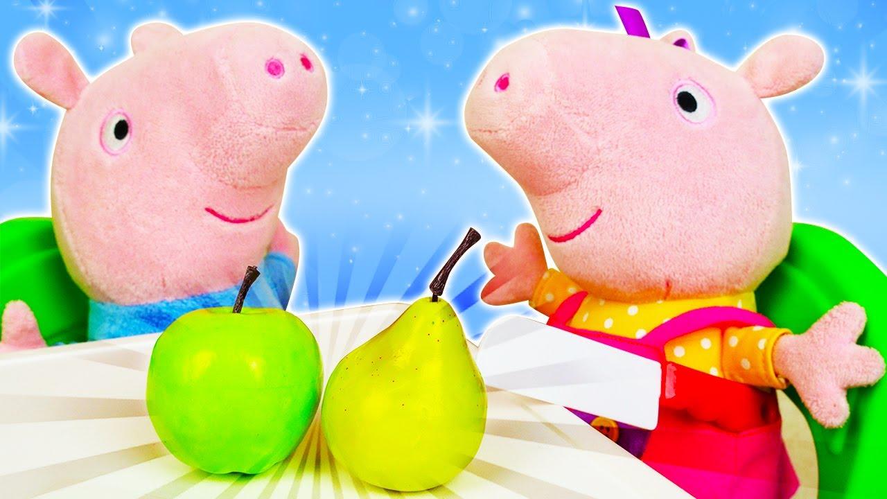 La dieta saludable de Peppa y George. Juguetes peluches. Dibujos animados