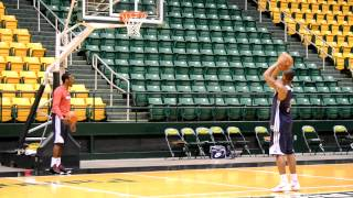 Beal and Wall practice free throws during Day 4 of Wizards 2012 Training Camp at GMU