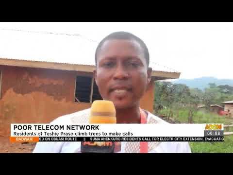 Poor Telecom Network: Residents of Teshie Praso climb trees to make calls-Adom TV (19-7-21)