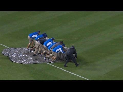 COL@LAD: Rain delays game at Dodger Stadium