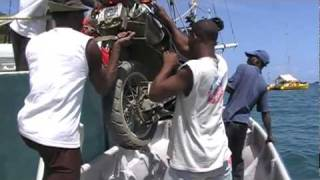 10. Winching motorcycle on boat. Colon, Panama - Cartagena, Colombia