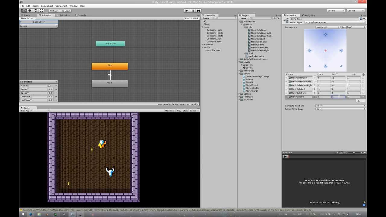 Animator state machine for top-down 2d games with non
