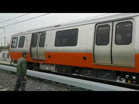 New Orange Line MBTA train car test driven in China