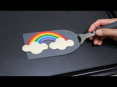 How to make pancake art creating two colors from the same pancake pancake art rainbow super easy pan cake by tiger tomato ccuart Gallery