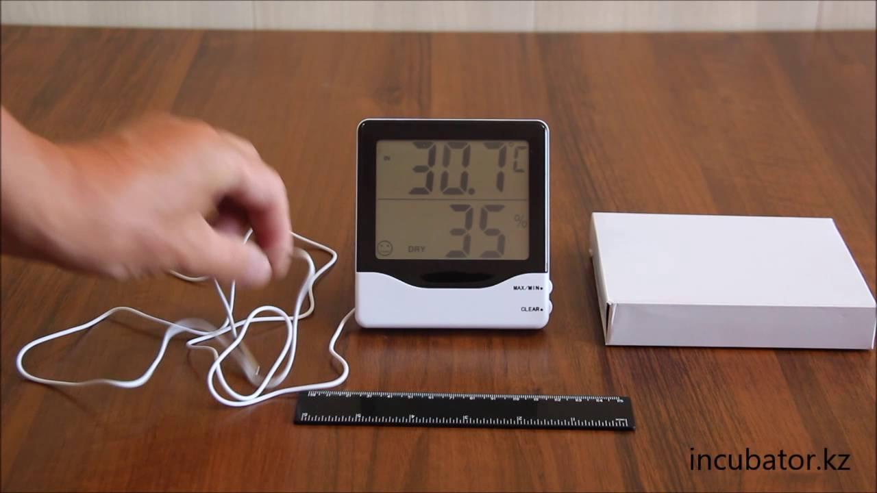 Термометр-гигрометр HTC-2 с выносным датчиком температуры - YouTube