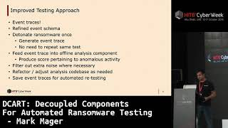 #HITBCyberWeek D1T2 - DCART: Decoupled Components For Automated Ransomware Testing - Mark Mager