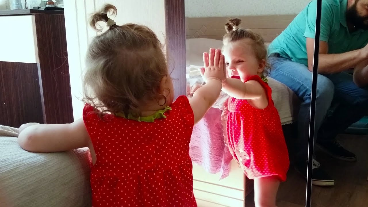 Cute Babies Sees Mirror For The First Time - Baby Lile Talking With Her Reflection In the Mirror