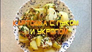 Жареная картошка с луком и укропом!