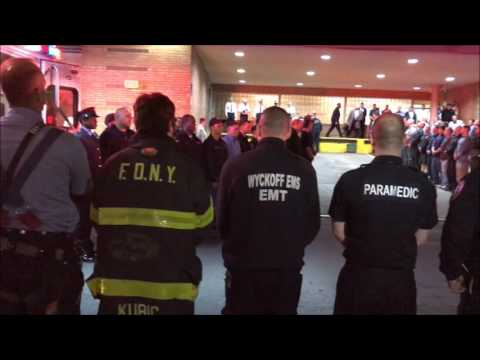 FDNY, PREPARING TO & ESCORTING FIREFIGHTER WILLIAM TOLLEY FROM FDNY TOWER LADDER 135 IN QUEENS, NYC.