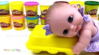 Shape Sorting Eggs with Baby Doll and Play-doh Learn Colours and Shapes
