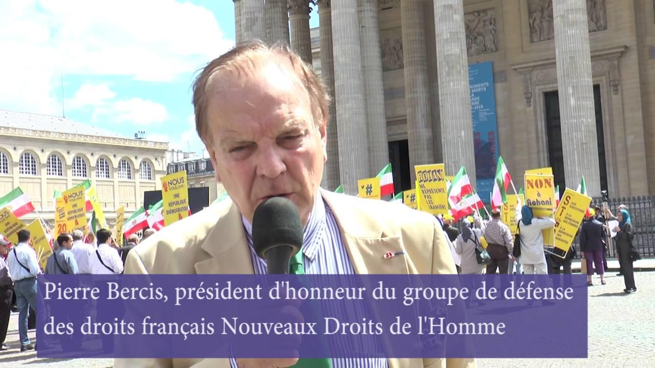 Discours de Pierre Bercis au rassemblement  à l'occasion de la venue en France de Javad Zarif MAE du régime des mollahs