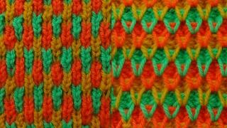 Трёхцветный узор. Вязание на спицах. Knitting. Pattern