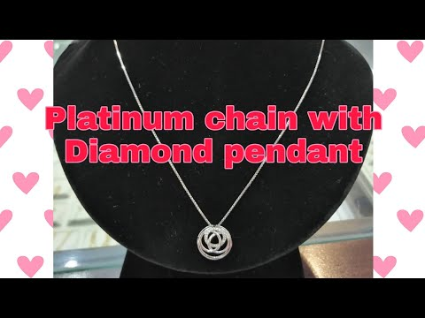 Platinum Chain With Diamond Pendant (pt 925)