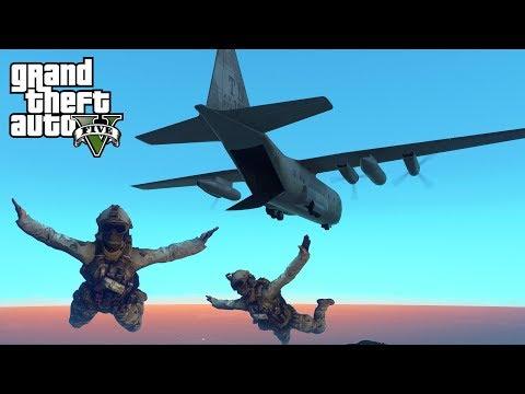 GTA 5 - Military ARMY Patrol Episode #52 - HALO Jump! Convoy Raid! (New DLC Gear, Air Force Support)