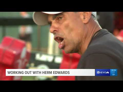Hitting the weights with new ASU coach Herm Edwards