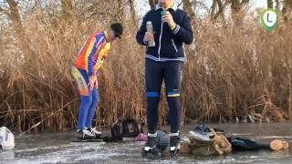 schaatsen op 4 cm ijs randmeer bij elburg movie