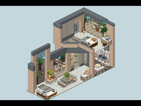 Habbo apartamento interior playa youtube for Casas en habbo