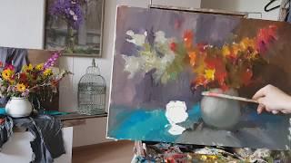 Букет садовых цветов. Видеоурок.