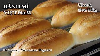 Bánh mì - Không phụ gia - Cách làm rất đơn giản - Nhanh - Vỏ giòn tan - Ruột xốp | Bếp Nhà Diễm |