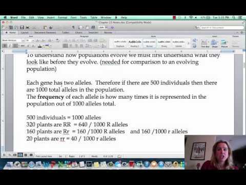 BIO 112 Population Genetics