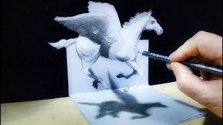 ► PEGASUS ILLUSION - How to Draw 3D Pegasus - Trick Art on Paper