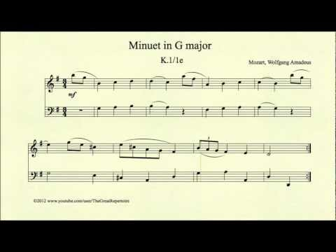 Mozart, Minuet in G major, K 1 1e