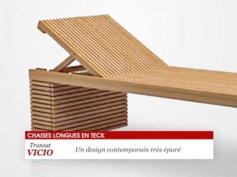 transat en teck 195cm vicio tek import youtube. Black Bedroom Furniture Sets. Home Design Ideas