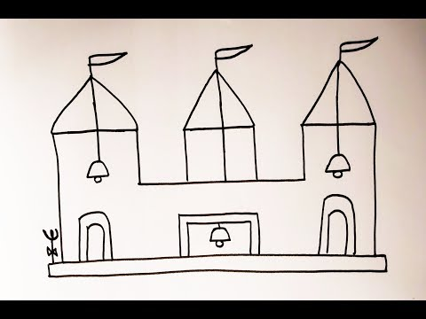 Drawing For School Kids L How To Draw Temple From +++ Symbol Step By Step #drawing #how To Draw