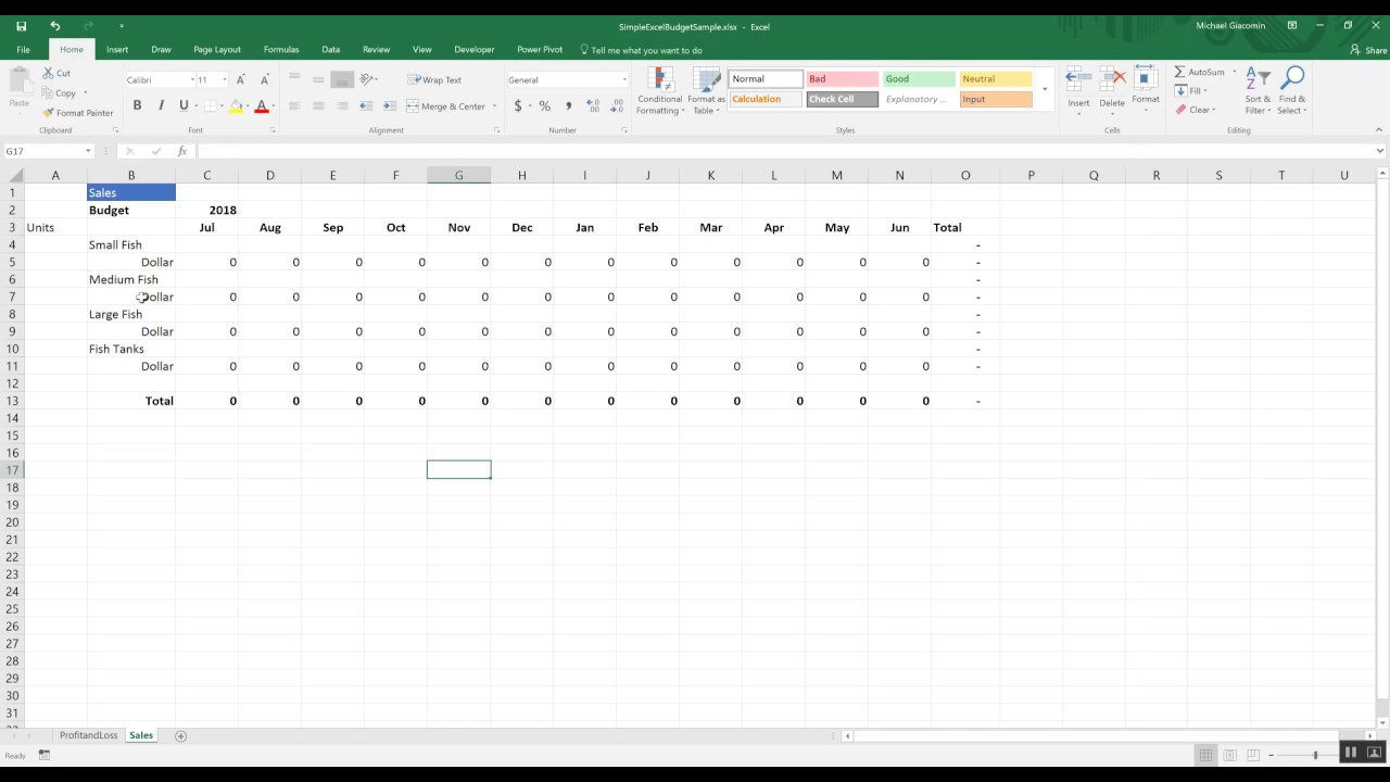 budgeting tools ep2 simple budget in excel with detail youtube