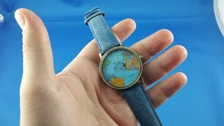 ✅ 1$ Traveler Watch World map from AliExpress Unboxing euro app