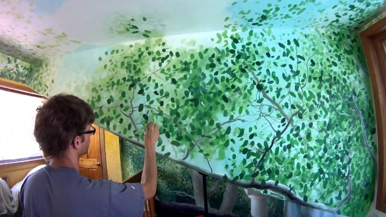 Leaves and rocks mural joe youtube for Mural joe painting
